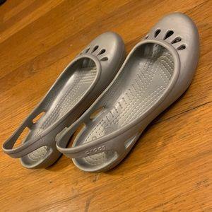 Crocs Silver/Gray Slingback Flats